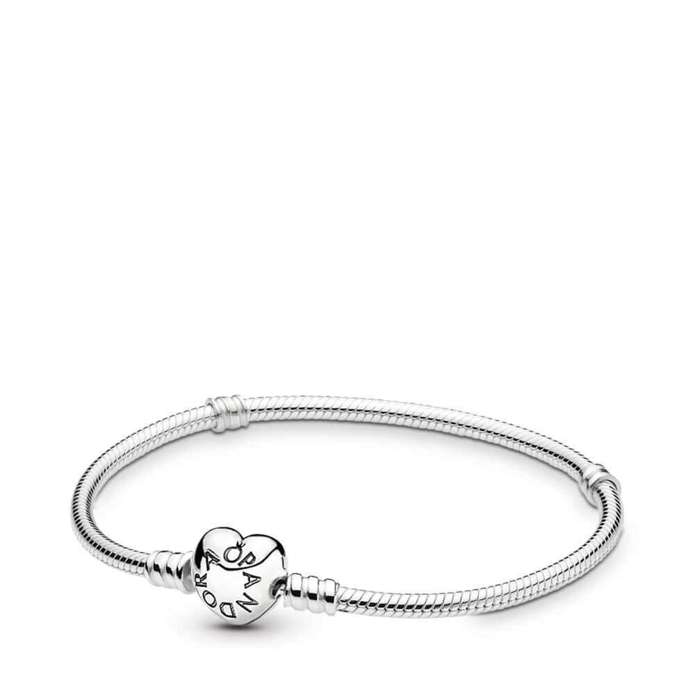 Moments Silver Bracelet with Heart Clasp