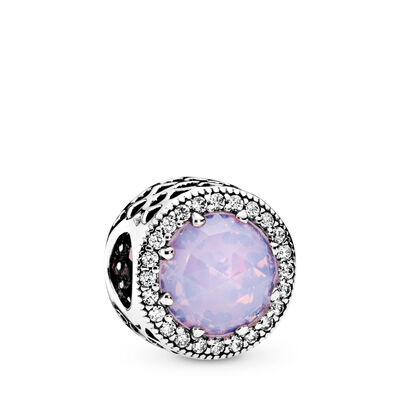 Opalescent Pink Radiant Hearts Charm, Sterling silver, Pink, Mixed stones - PANDORA - #791725NOP