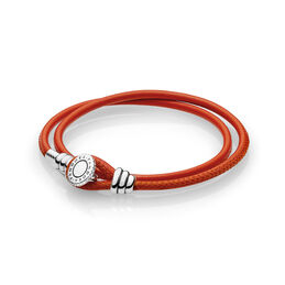 Moments Double Leather Bracelet, Spicy Orange, Sterling silver, Leather, Orange, Cubic Zirconia - PANDORA - #597194CSO-D