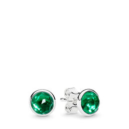 May Droplets Stud Earrings, Sterling silver, Green, Crystal - PANDORA - #290738NRG