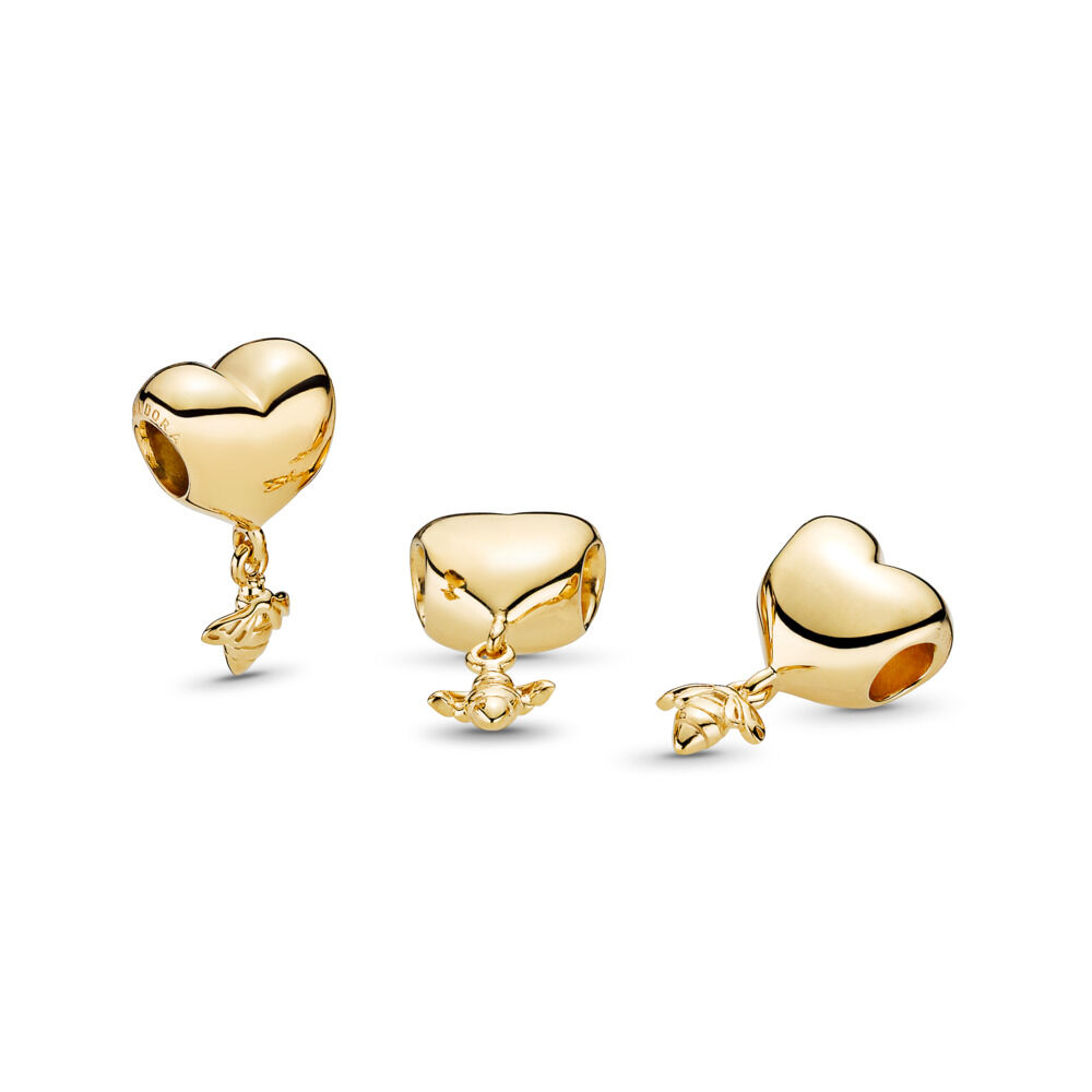 Heart And Bee Charm 18ct Gold Plated Shop Pandora Gb