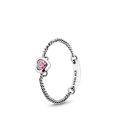 Pink Spirited Heart Chain Ring, Sterling silver, Pink, Cubic Zirconia - PANDORA - #197191PCZ