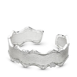 Lace of Love Bangle, Sterling silver, Cubic Zirconia - PANDORA - #597704CZ