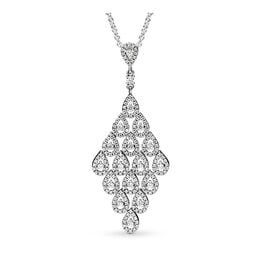 Cascading Glamour Necklace, Sterling silver, Cubic Zirconia - PANDORA - #396262CZ