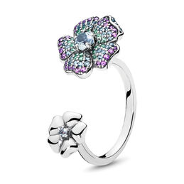 Glorius Blooms Ring, Sterling silver, Blue, Crystal - PANDORA - #197086NRPMX