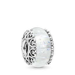 Iridescent White Glass Murano Charm, Sterling silver, Glass, White - PANDORA - #797617
