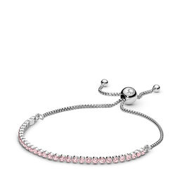 Pink Sparkling Strand Bracelet, Sterling silver, Silicone, Pink, Cubic Zirconia - PANDORA - #590524PCZ