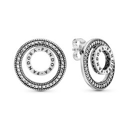 Forever PANDORA Signature Stud Earrings, Sterling silver, Cubic Zirconia - PANDORA - #297446CZ