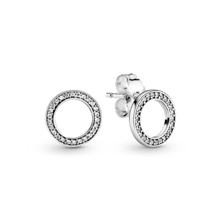 Sparkling Circle Stud Earrings