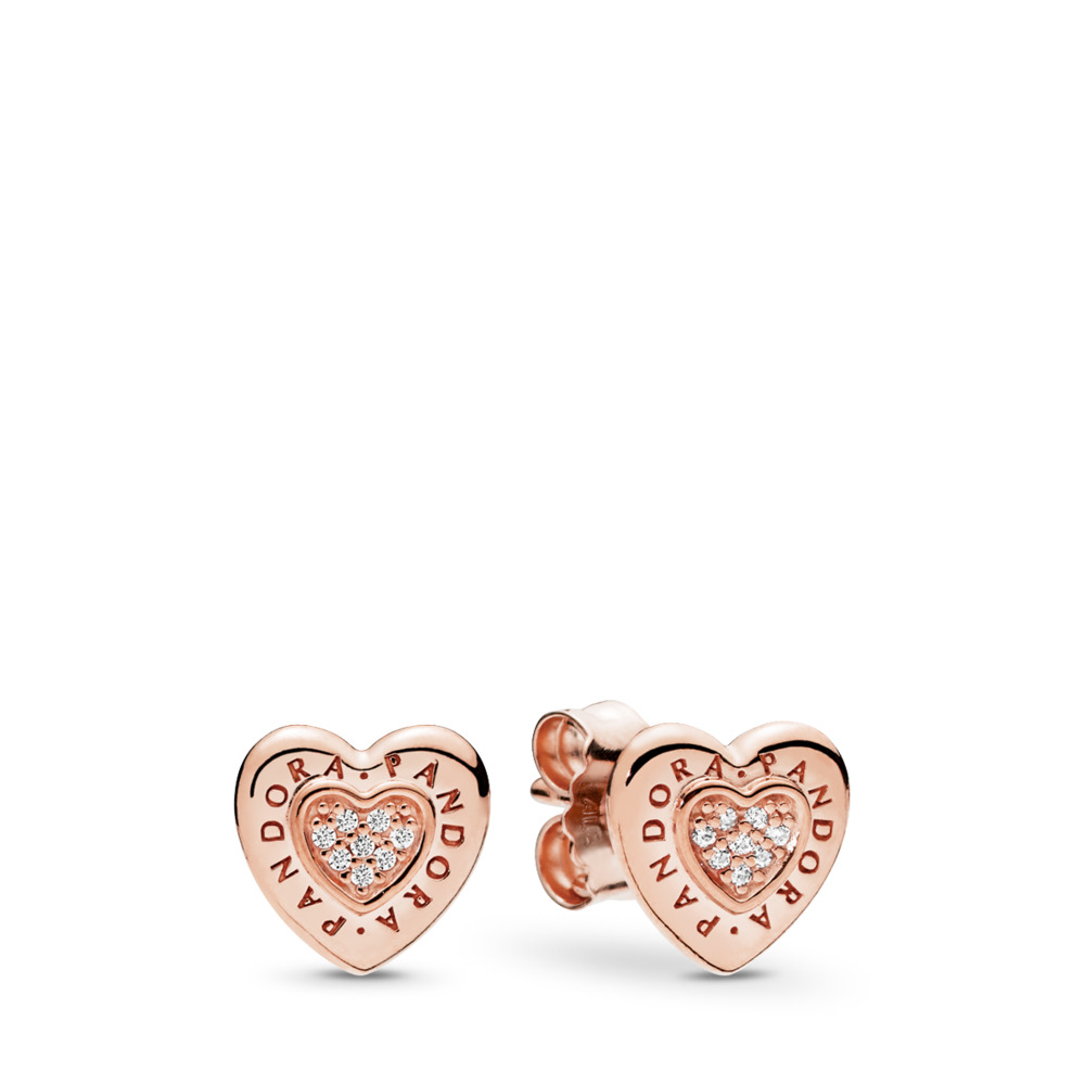 PANDORA Rose Logo Heart Stud Earrings