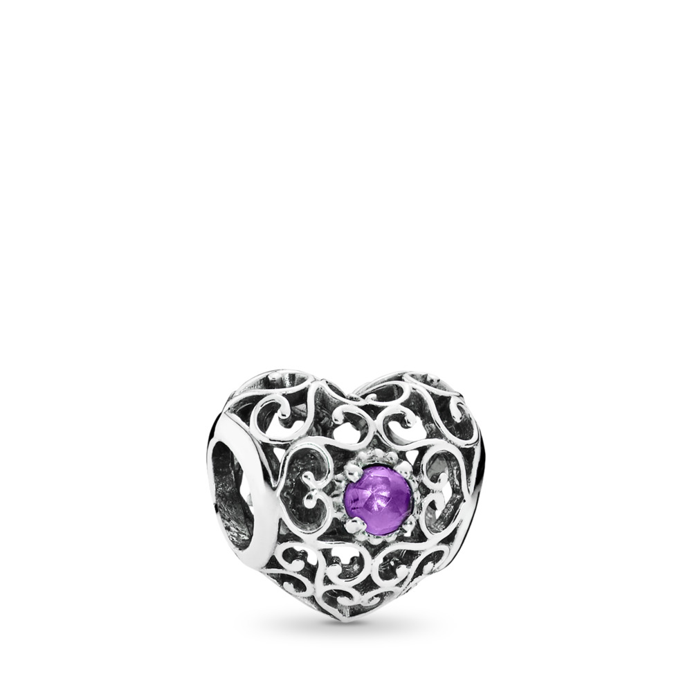 February Signature Heart Birthstone Charm