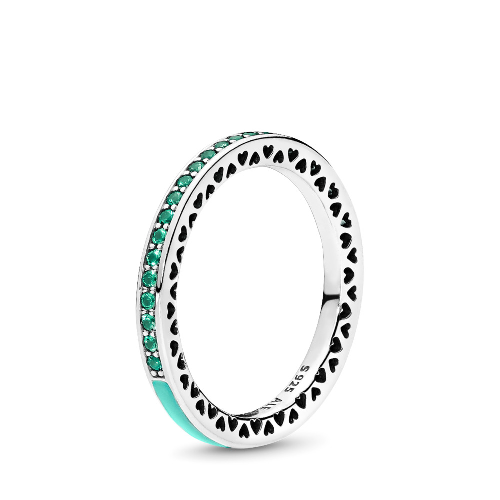 Mint Radiant Hearts of PANDORA Ring