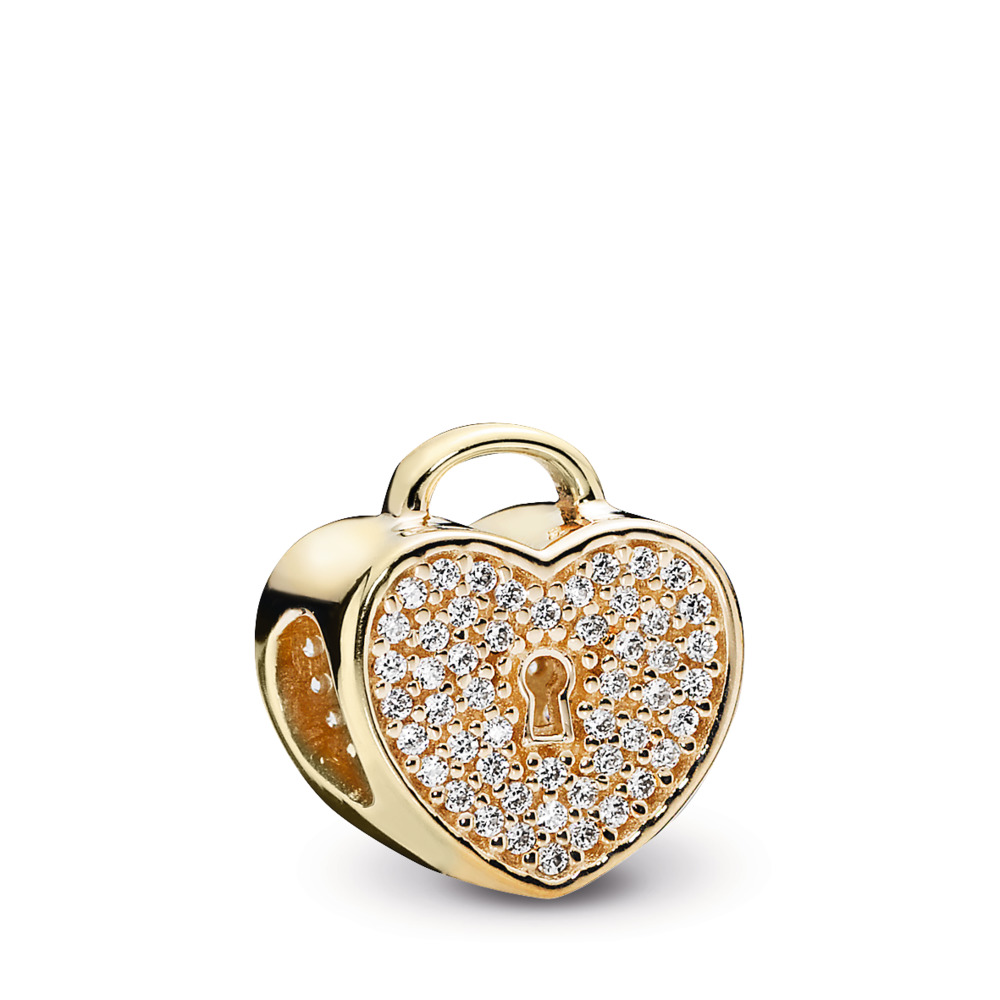 Gold Heart Lock Charm
