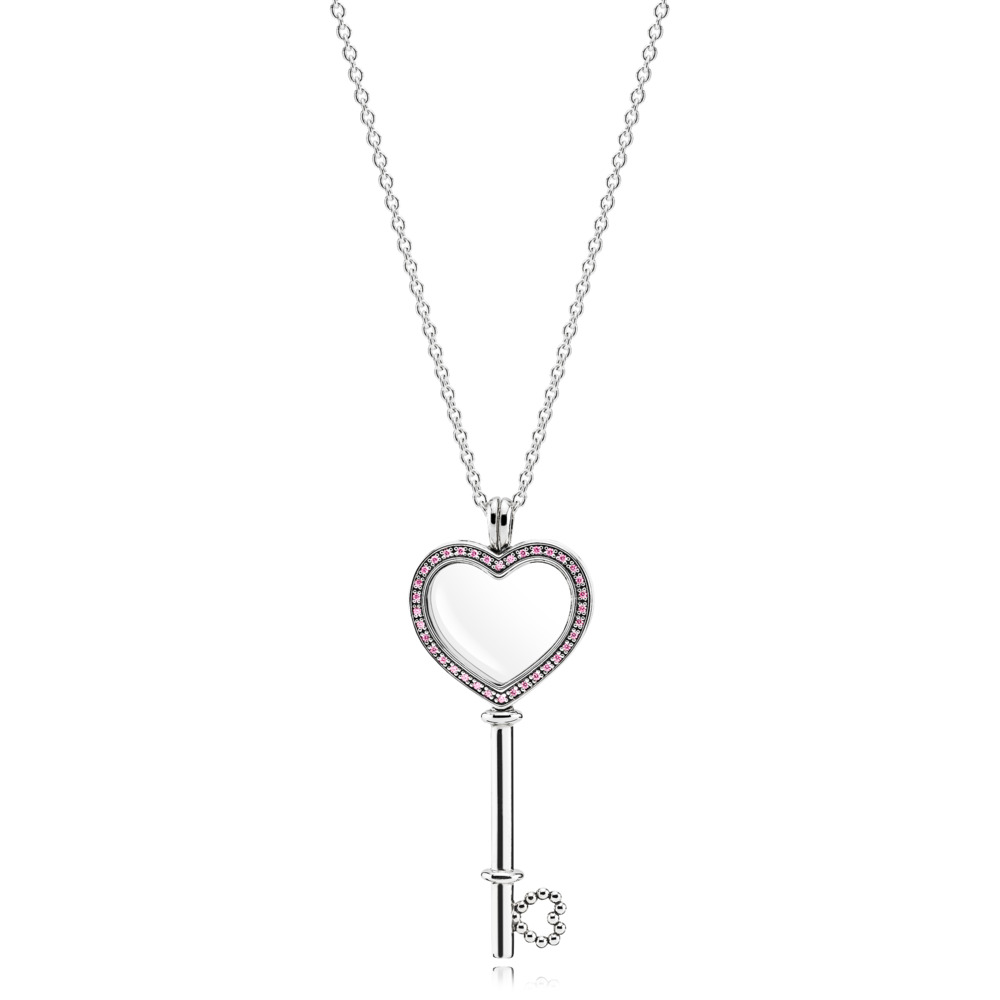 Pink Heart Key Locket Necklace - Large