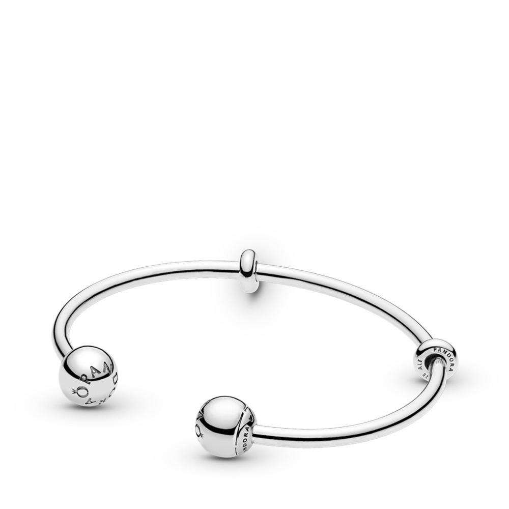 Moments Silver Open Bangle, PANDORA Logo Caps