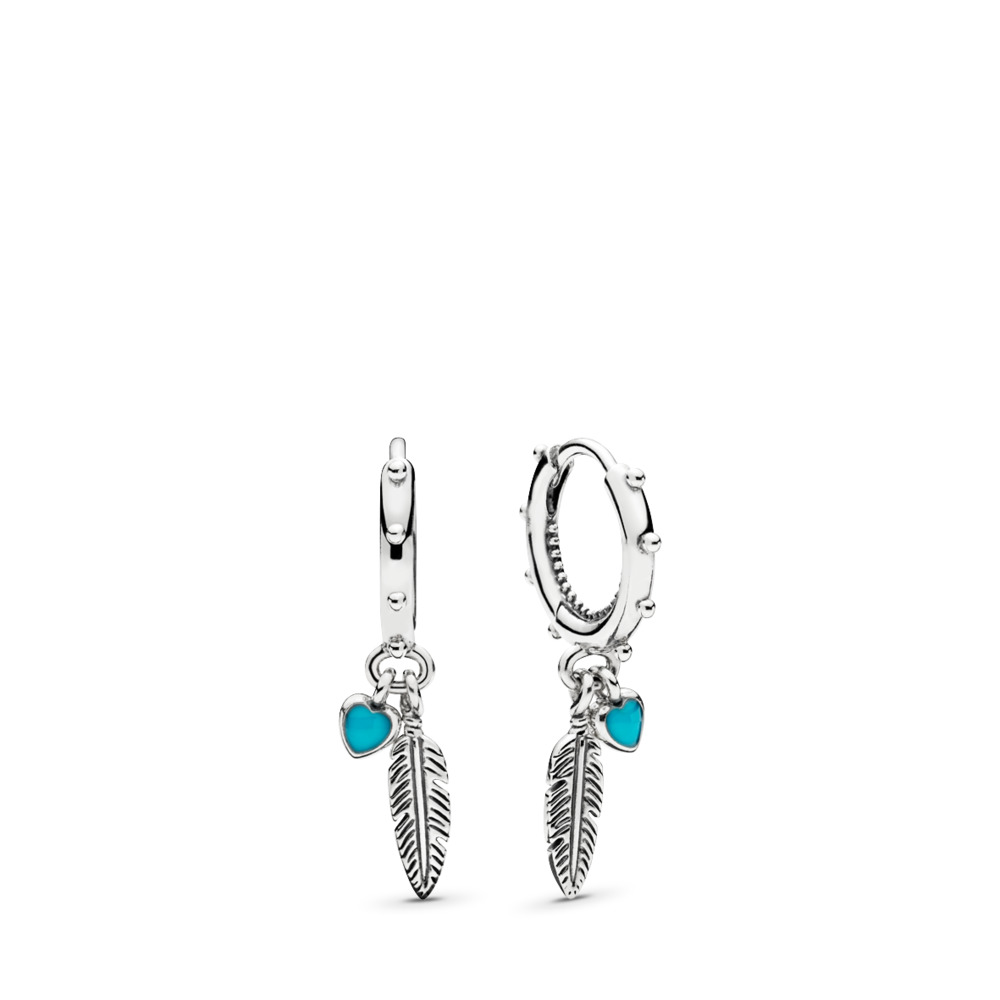 Pandora Drop Earrings: Spiritual Feathers Drop Earrings - Pandora UK