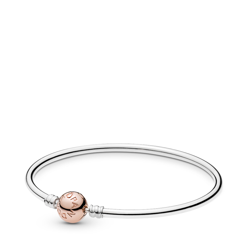 Moments Silver Bangle with PANDORA Rose Clasp